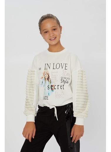 Little Star Little Star Kız Çocuk Eteği Kordonlu Sweatshirt Krem